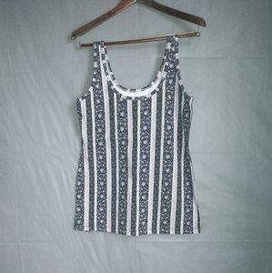 Maurices vertical striped floral print tank top